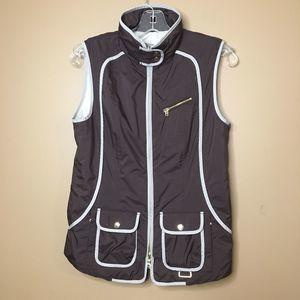 Bogner Brown Gray Vest thin puff gold zipper Sz 6